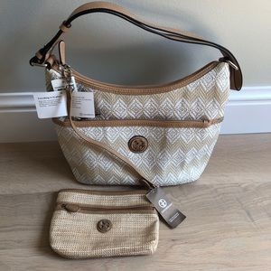 Giani Bernini Diamond Straw Shoulder Bag Hobo